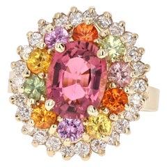 4.53 Carat Tourmaline Sapphire Diamond Yellow Gold Cluster Ring