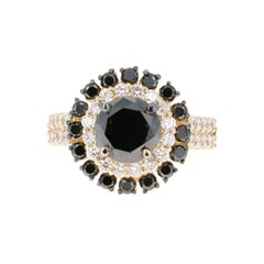 4.54 Carat Black and White Diamond 14 Karat Yellow Gold Engagement Ring