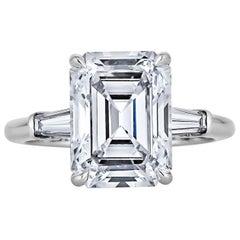 4.54 Carat Emerald Cut Diamond Platinum Engagement Ring