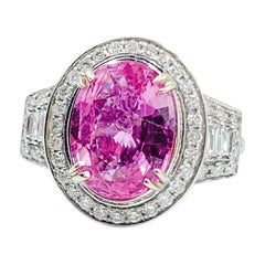 4.54 Carat Fancy Hot Pink Sapphire Ring