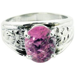 4.54 Carat Pink Oval Kunzite Sterling Silver Cocktail Ring