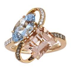 4.54 Carat Total Morganite and Aquamarine Ring with Diamonds in 18 Rose Gold