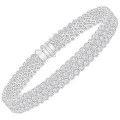 4.54 Carat Total 3-Row Round Diamond Tennis Bracelet, 18 Karat
