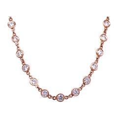 4.55 Carat Bezel Set Round Diamond by the Inch 18 Karat Necklace