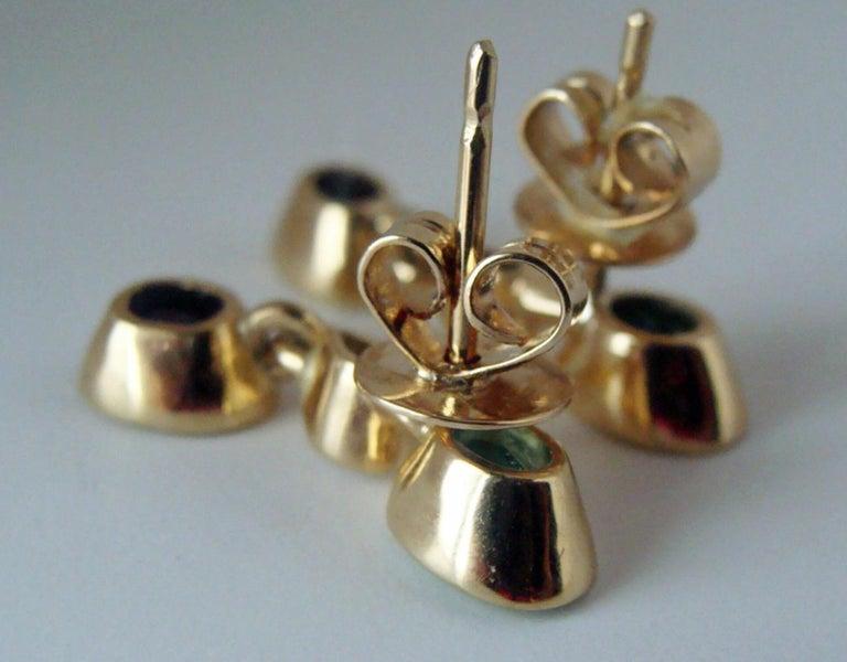 Women's 4.55 Carat Colombian Emerald Tanzanite and Diamond Dangle Earrings 18 Karat For Sale