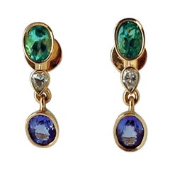 4.55 Carat Colombian Emerald Tanzanite and Diamond Dangle Earrings 18 Karat