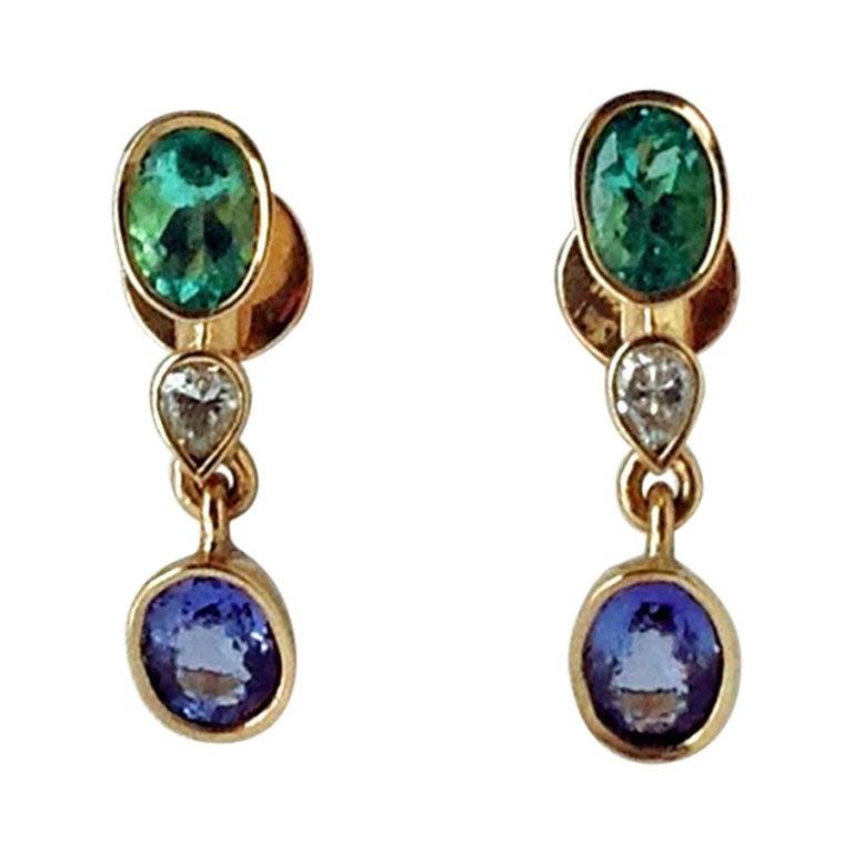 4.55 Carat Colombian Emerald Tanzanite and Diamond Dangle Earrings 18 Karat For Sale