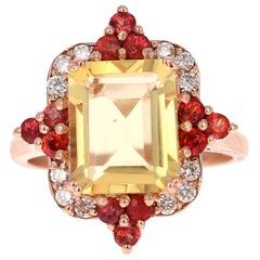 4.55 Carat Emerald Cut Citrine, Sapphire and Diamond 14 Karat Gold Ring