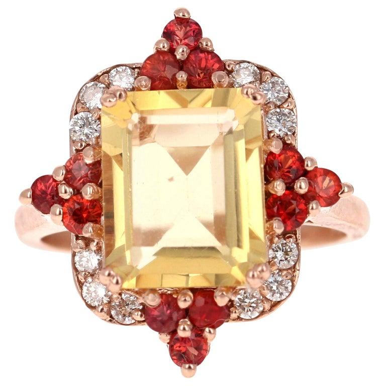 4.55 Carat Emerald Cut Citrine, Sapphire and Diamond 14 Karat Gold Ring For Sale