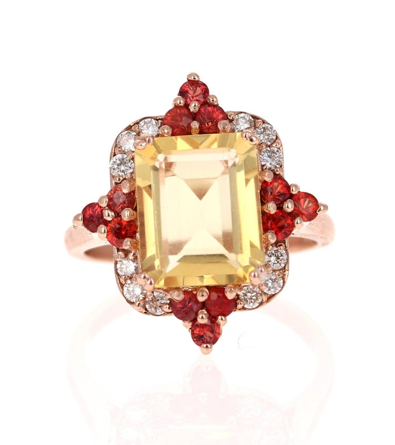 4.55 Carat Emerald Cut Citrine, Sapphire and Diamond 14 Karat Gold Ring In New Condition For Sale In San Dimas, CA