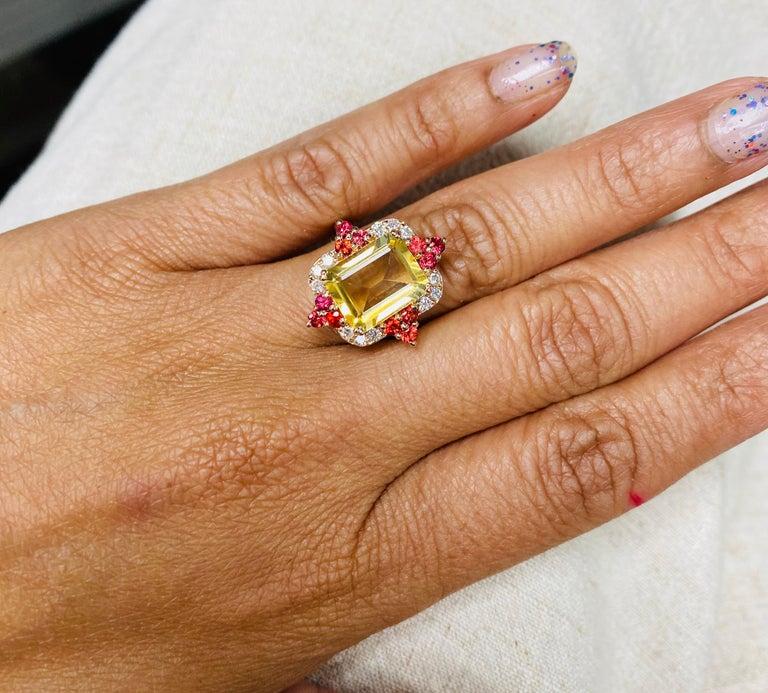 Women's or Men's 4.55 Carat Emerald Cut Citrine, Sapphire and Diamond 14 Karat Gold Ring For Sale