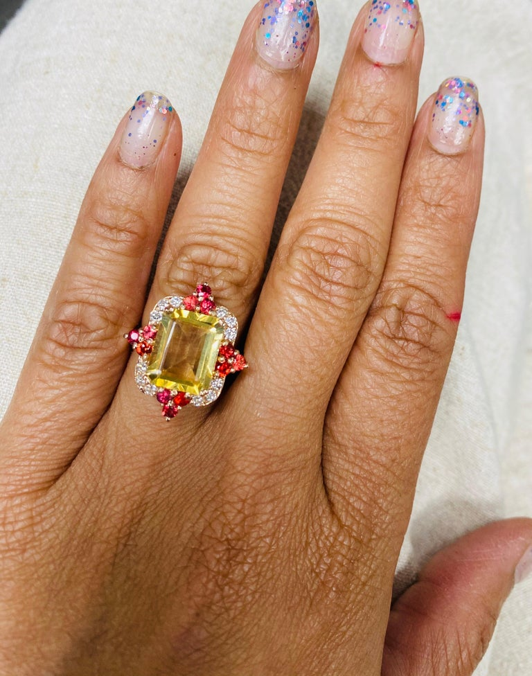 4.55 Carat Emerald Cut Citrine, Sapphire and Diamond 14 Karat Gold Ring For Sale 1