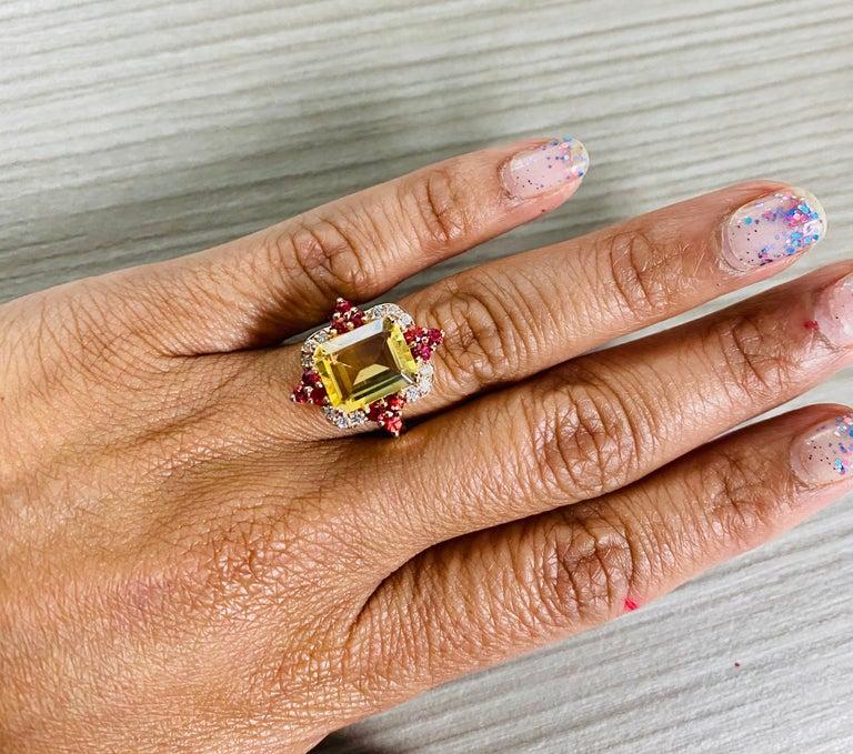 4.55 Carat Emerald Cut Citrine, Sapphire and Diamond 14 Karat Gold Ring For Sale 2
