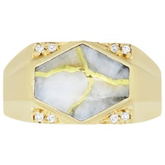 4.55 Carat Gold in Quartz Hexagon Men's Ring