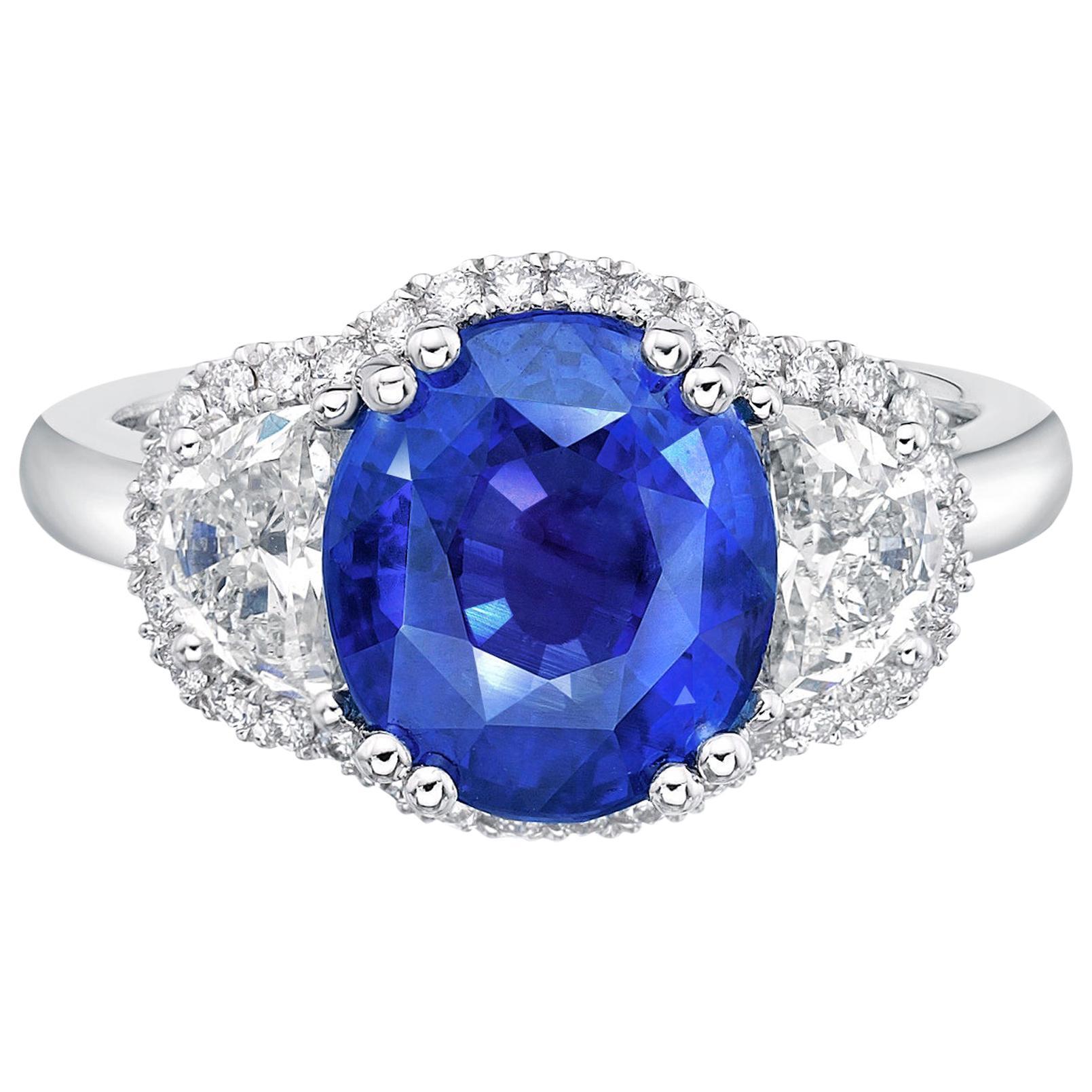 4.55 Carat Royal Blue Sapphire GRS Certified Unheated Diamond Ceylon Ring Oval