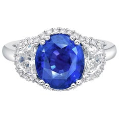 4.55 Carat GRS Certified 18K Gold Non Heated Sapphire and Natural Diamond Ring