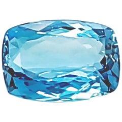 4.55 Carat Intense Blue Cushion Aquamarine Natural Gemstone