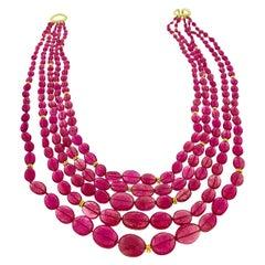 455 Carat Natural Rubellite Bead Necklace, Multi Strand 18 Karat Gold
