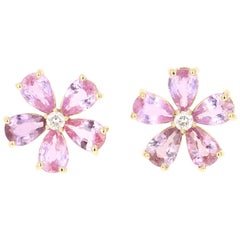 4.55 Carat Pink Purple Sapphire Diamond 18 Karat Yellow Gold Earrings