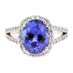 4.55 Carat Tanzanite Diamond 14 Karat White Gold Cocktail Ring