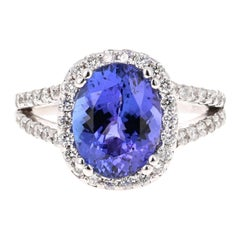 4.55 Carat Tanzanite Diamond 14 Karat White Gold Ring