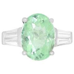 Oval Green Paraiba Tourmaline Elongated Baguette Diamond Ring 14K White Gold