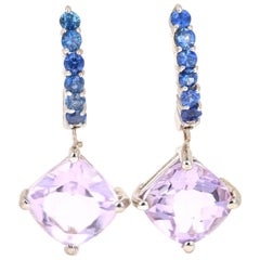 4.56 Carat Amethyst Sapphire 14 Karat White Gold Drop Earrings
