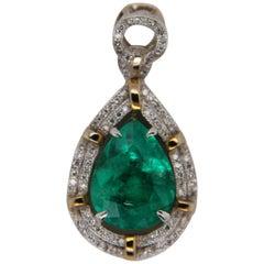 4.56 Carat Emerald and Diamond Pendant in 18 Karat Gold