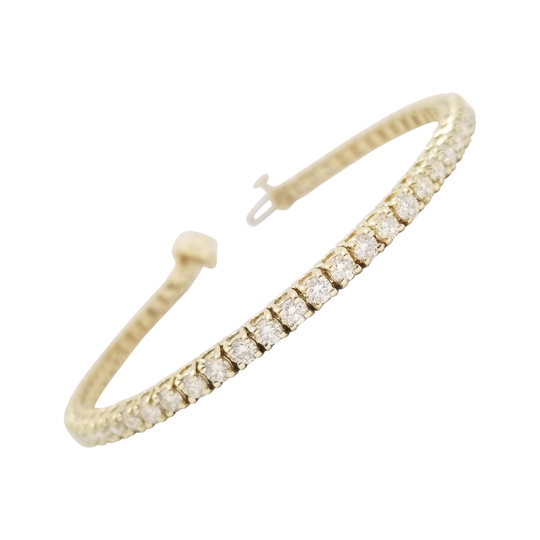 4.56 Carat Round Brilliant Cut Diamond Tennis Bracelet 14 Karat Yellow Gold