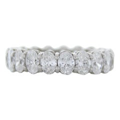 4.56 Carat Total Oval Cut Diamond Eternity Band in 18k White Gold