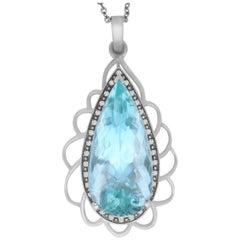 45.63 Carat Pear Shaped Aquamarine and White Diamond Pendant
