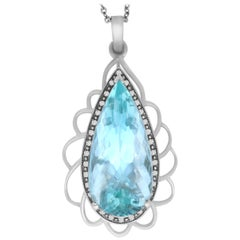 45.63 Carat Pear Shaped Aquamarine and White Diamond Pendant