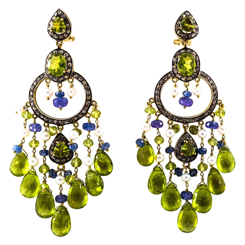 45.65 Carat White Rose Cut Diamond Tanzanite Peridot Pearl Yellow Gold Earrings