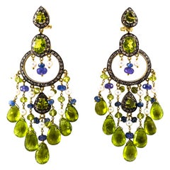 45.65 Carat White Rose Cut Diamond Tanzanite Peridot Pearl Yellow Gold Earrings