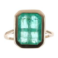 4.56tcw 14K Colombian Emerald, Emerald Cut & Diamond Accent Ring