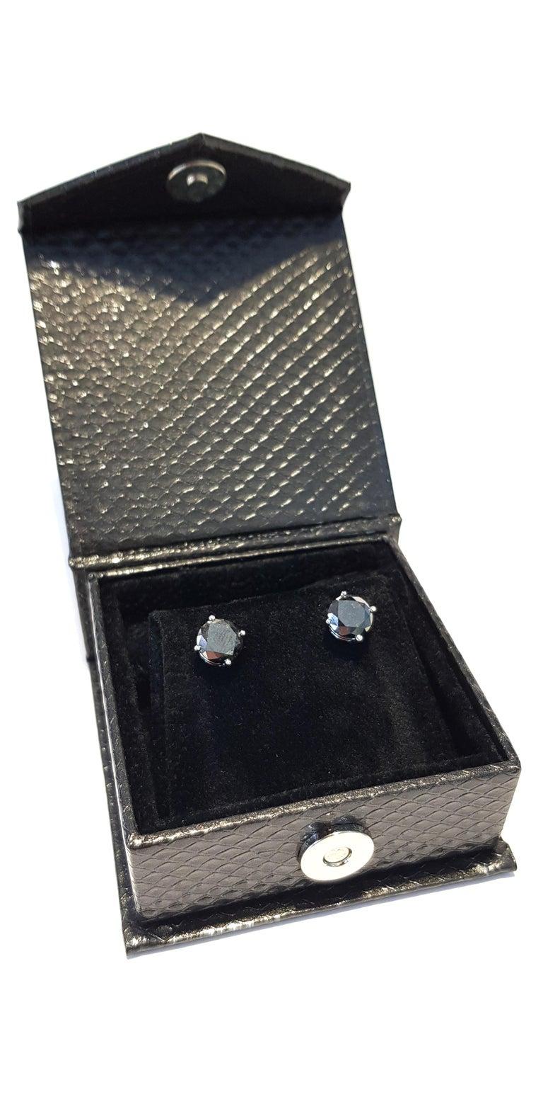 4.57 Carat Black Diamond 18 KT White Gold Solitaire Tresor Paris Stud Earrings  For Sale 4