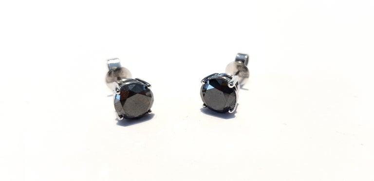 4.57 Carat Black Diamond 18 KT White Gold Solitaire Tresor Paris Stud Earrings  For Sale 5