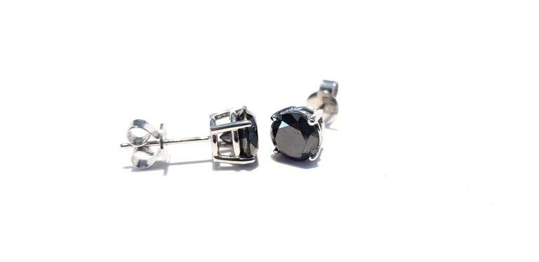 4.57 Carat Black Diamond 18 KT White Gold Solitaire Tresor Paris Stud Earrings  For Sale 6