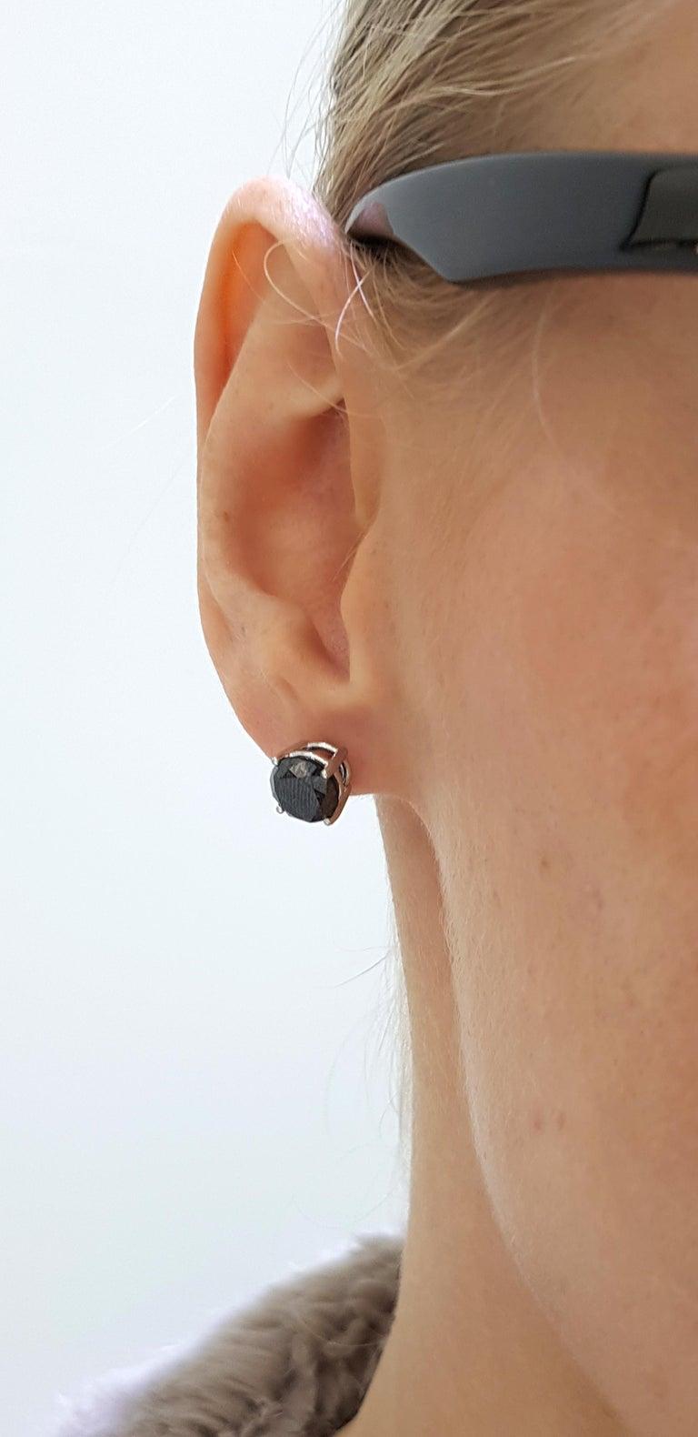 Round Cut 4.57 Carat Black Diamond 18 KT White Gold Solitaire Tresor Paris Stud Earrings  For Sale