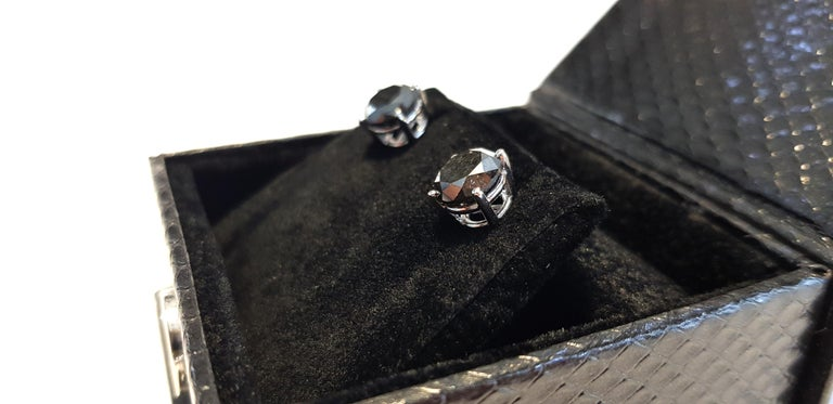 4.57 Carat Black Diamond 18 KT White Gold Solitaire Tresor Paris Stud Earrings  In New Condition For Sale In London, GB