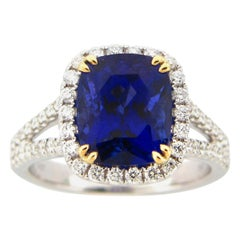 4.57 Carat Cushion Tanzanite and Diamond Cocktail Ring