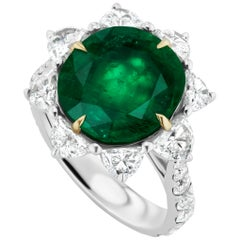 4.57 Carat Emerald and Diamond Ring