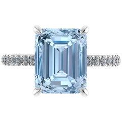 4.57 Carat Emerald Aquamarine Pave Diamond Platinum Cocktail Ring
