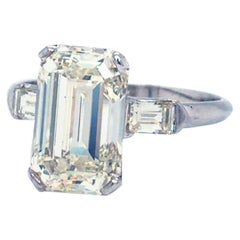 4.57 Carat Emerald Cut Diamond Platinum Classic Engagement Ring Color L-J