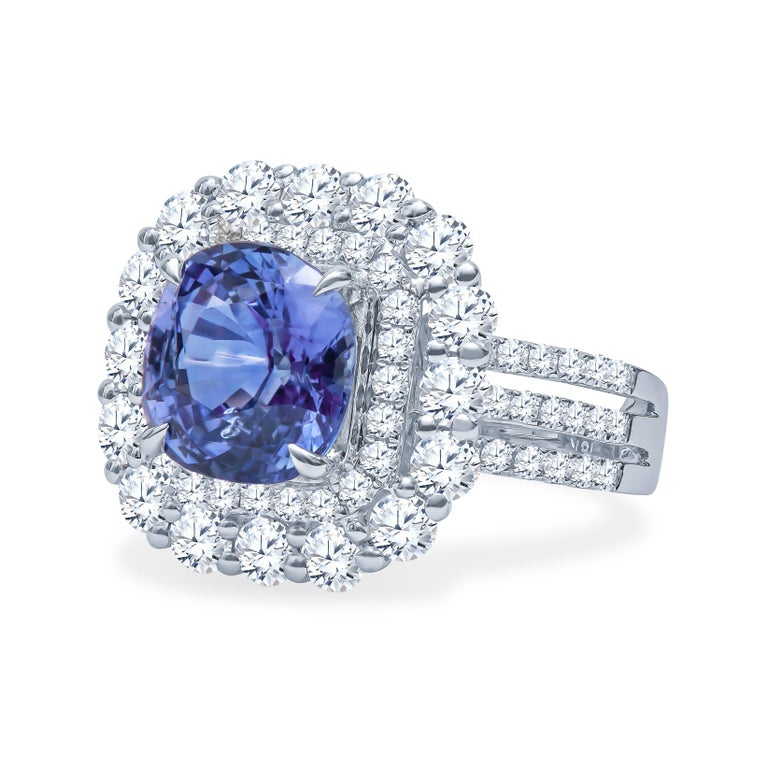 4.57 Carat Natural Ceylon Sapphire, Cushion Cut 'AGL Report' in a Diamond Ring In New Condition For Sale In Houston, TX