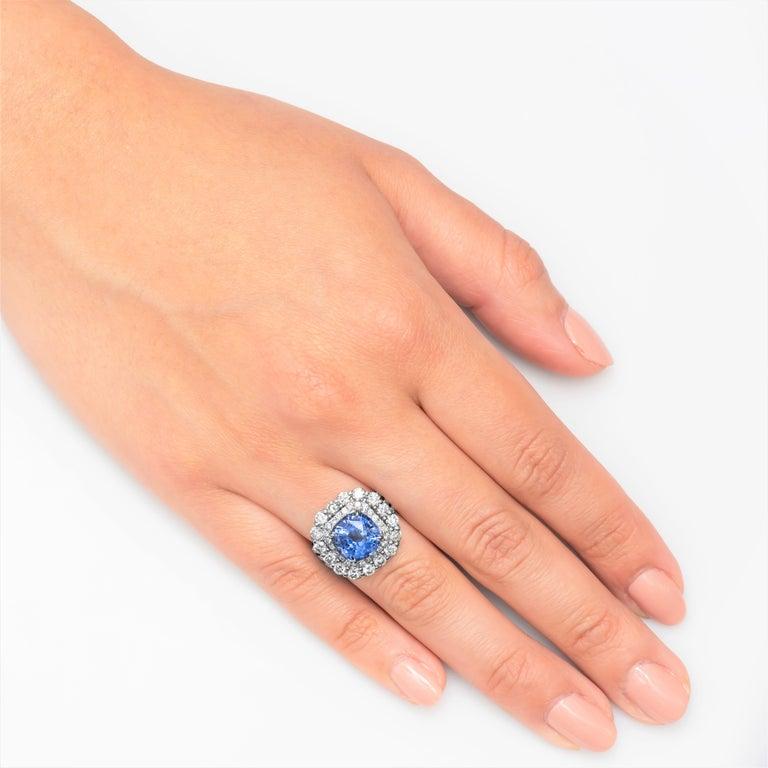 Women's 4.57 Carat Natural Ceylon Sapphire, Cushion Cut 'AGL Report' in a Diamond Ring For Sale