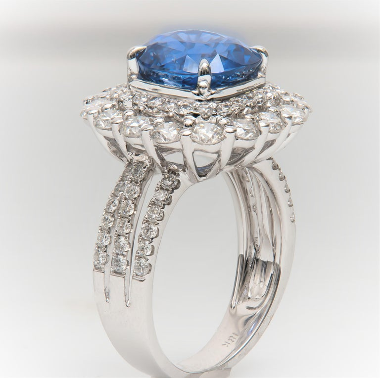 4.57 Carat Natural Ceylon Sapphire, Cushion Cut 'AGL Report' in a Diamond Ring For Sale 1