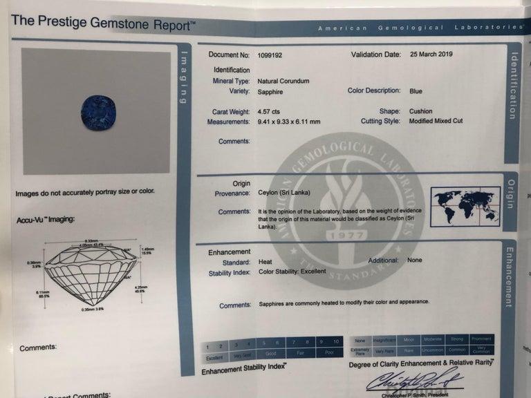 4.57 Carat Natural Ceylon Sapphire, Cushion Cut 'AGL Report' in a Diamond Ring For Sale 2