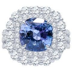 4.57 Carat Natural Ceylon Sapphire, Cushion Cut 'AGL Report' in a Diamond Ring