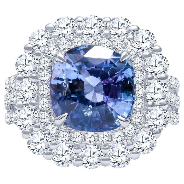 4.57 Carat Natural Ceylon Sapphire, Cushion Cut 'AGL Report' in a Diamond Ring For Sale